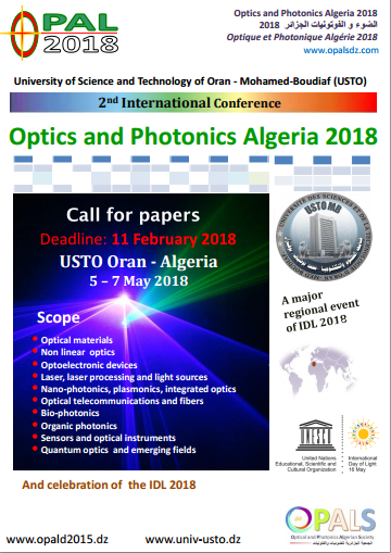 Call for papers OPAL 2018 (Optics and Photonics Algeria)